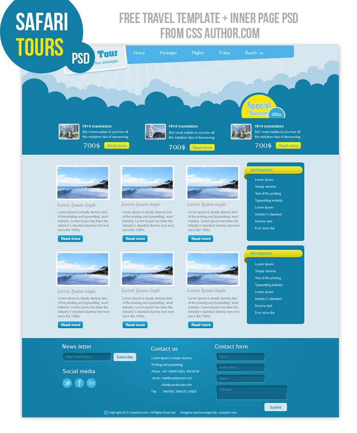 Free Design Templates Online: Premium Travel Web Design Template PSD For